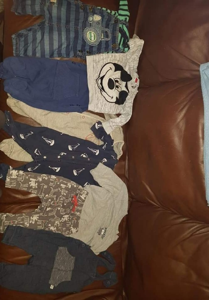 3-6months boy clothes and a pair of shoes