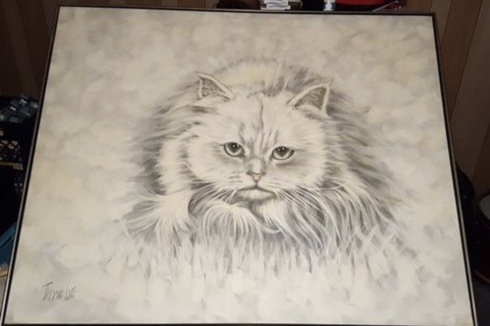 Large 1970s Thomas Lee Canvas Persian Cat Painting