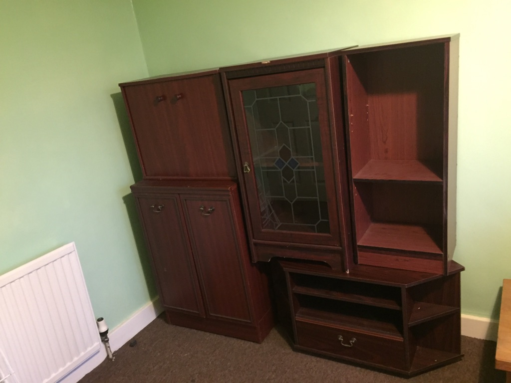 wood cabinet and TV stand