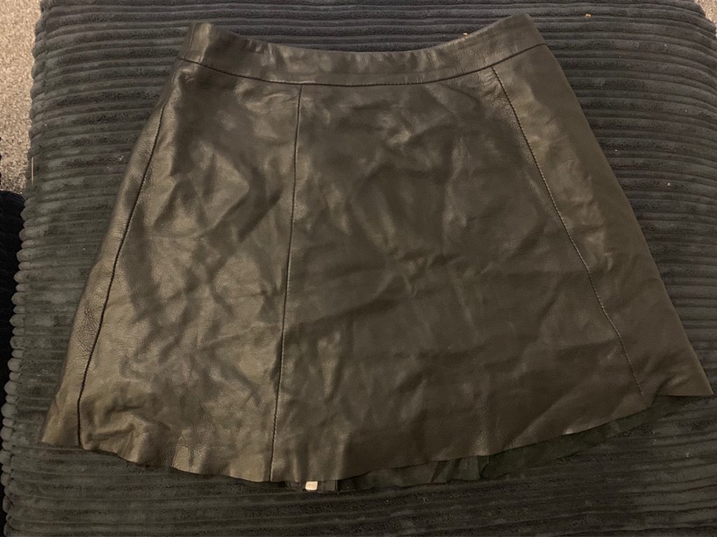 Leather mini A-line skirt