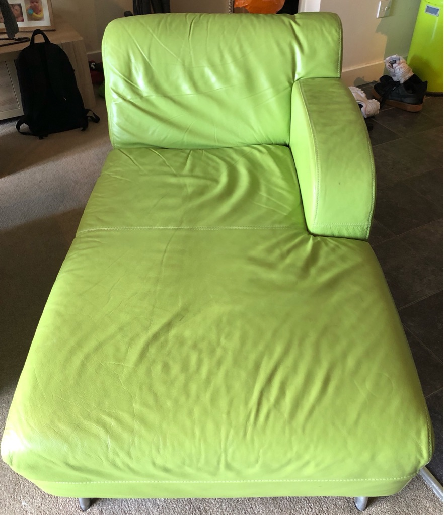 GREEN LEATHER CHAISE AND SOFA