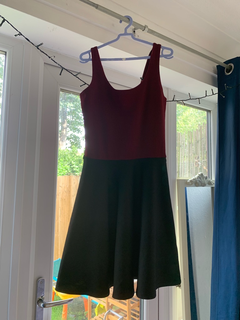 Maroon and black skater dress (size 8)
