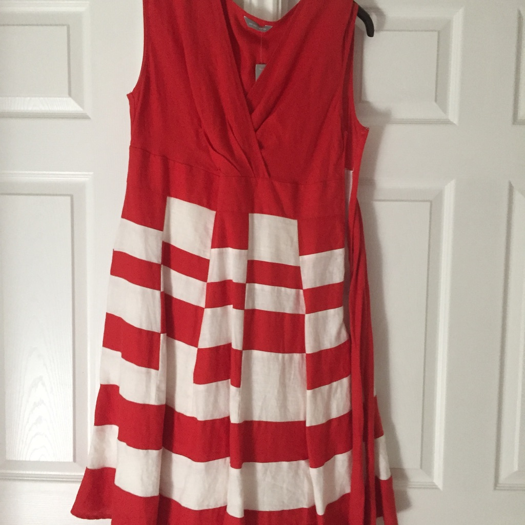 M&S Per Una Red/White Dress with Belt - size 16R (BNWT)
