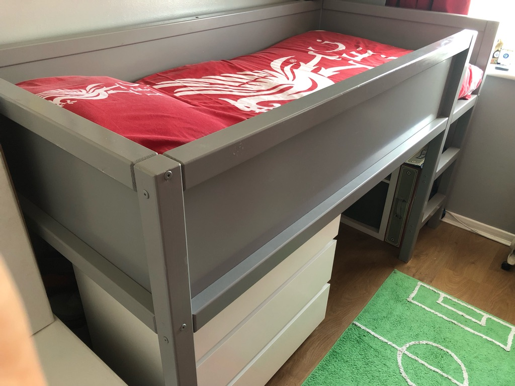 Grey wooden cabin bed