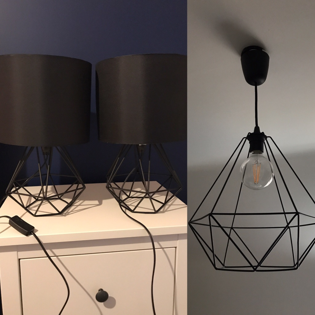 2 Black Geometric Bedside Lamps with satin black shades and matching IKEA BRUNSTA diamond ceiling pendant.