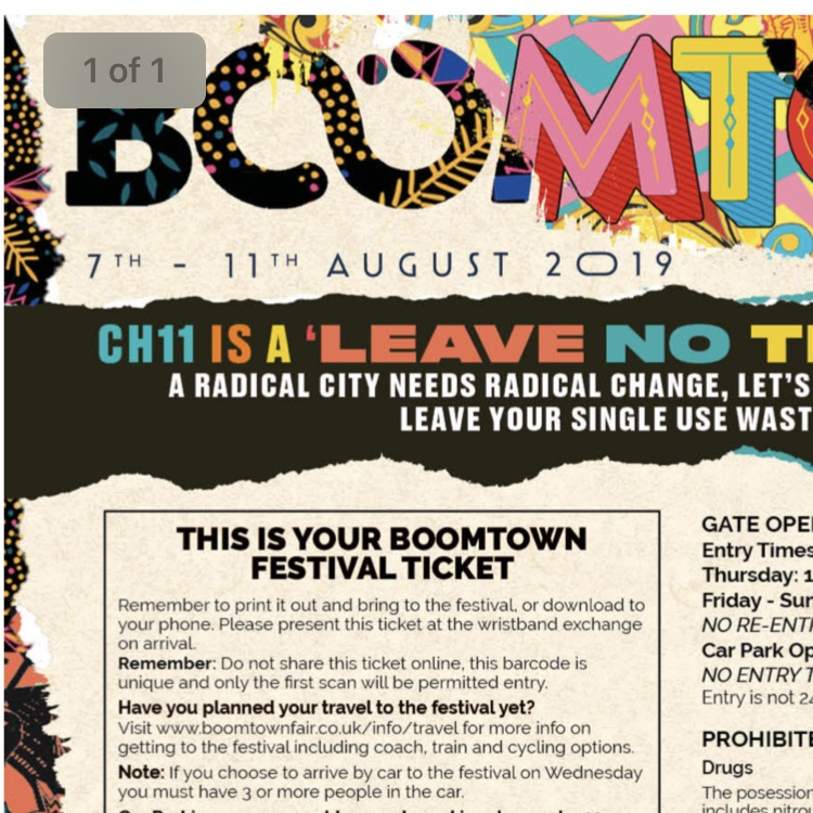Boomtown ticket - Wednesday entry