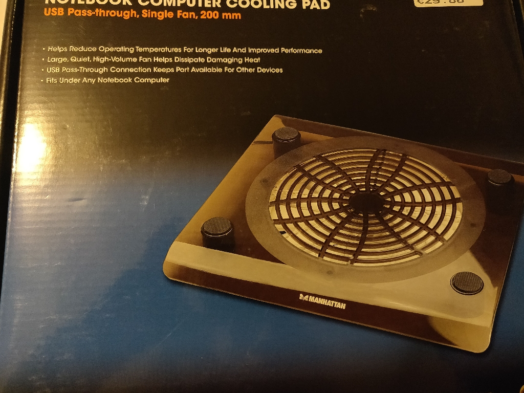 Cooling fan for laptop/games console