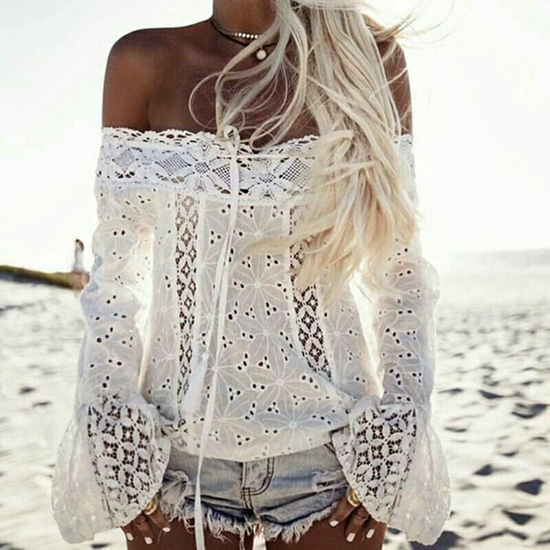 White or Black Gauze Lacy Bell Sleeve Top
