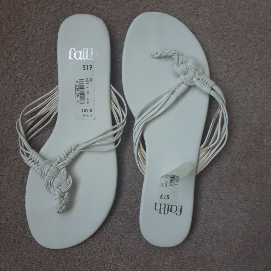 Faith Strappy White Sandals Brand New Size 5