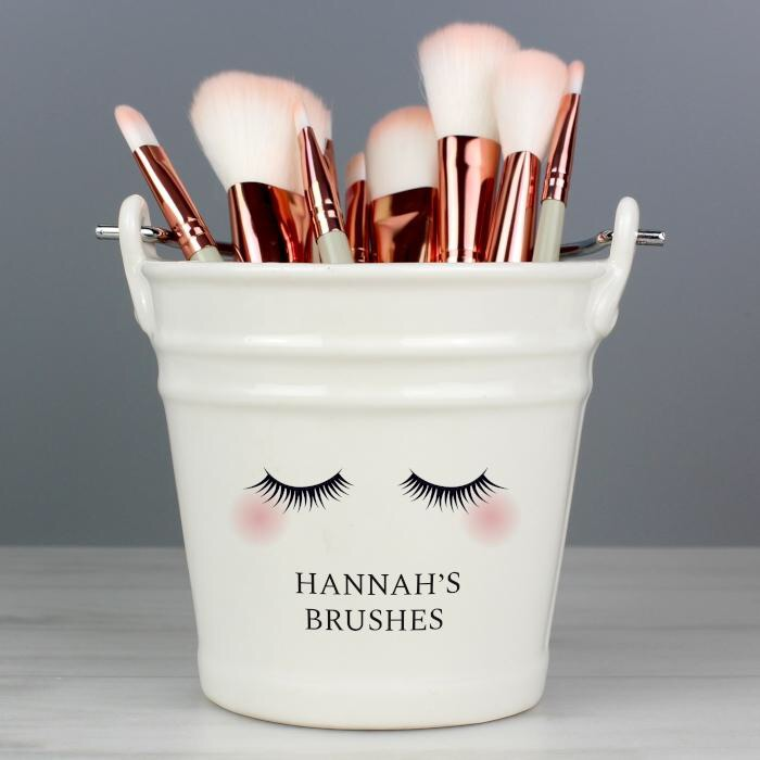 Personalised eyelashes porcelain storage bucket