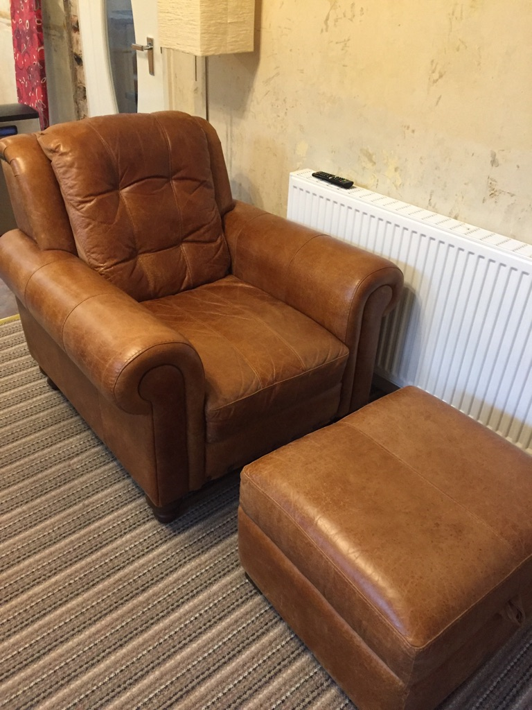 Leather sofa, chair and pouffe-VGC