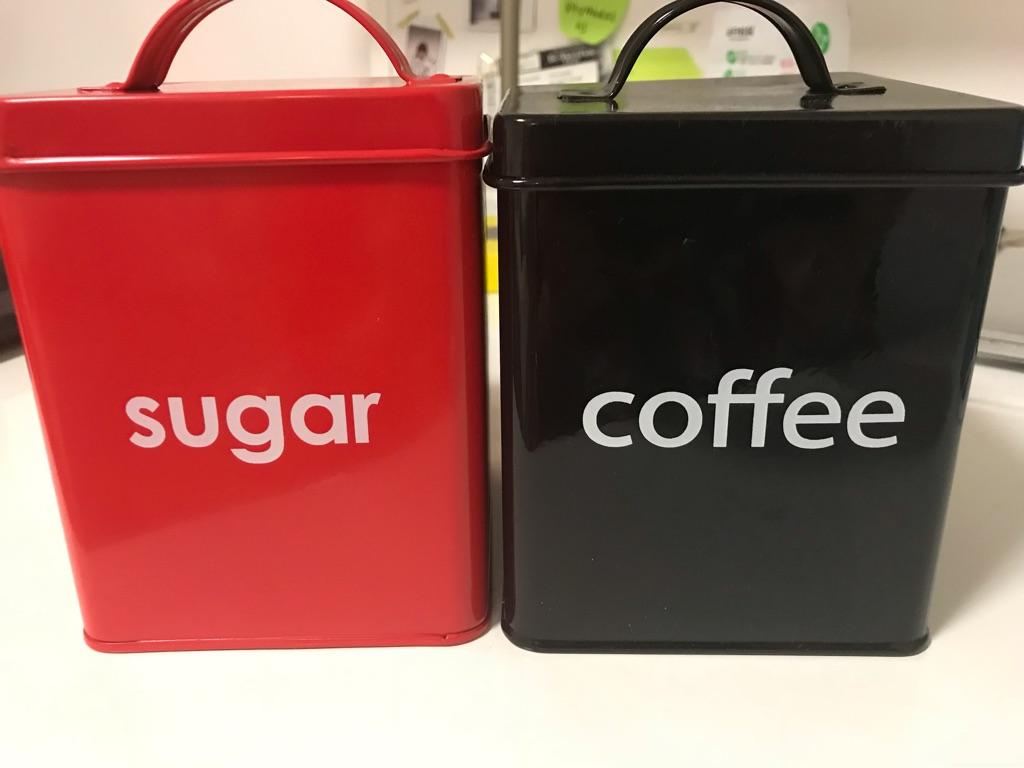 coffee and sugar storage tin boxes