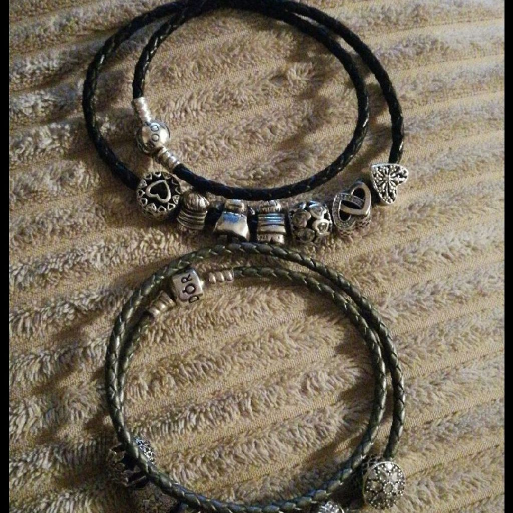 2 genuine pandora double leather bracelets size 40cm(NO CHARMS)