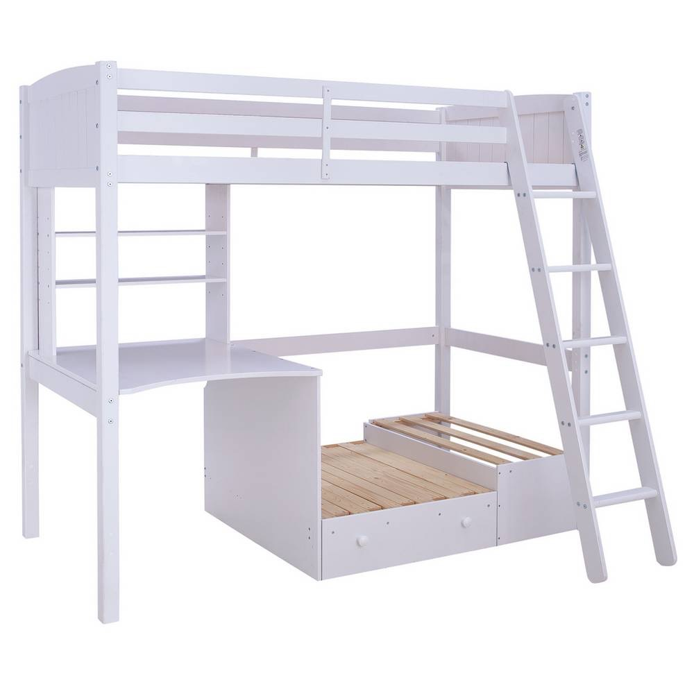 Magnificent Classic White High Sleeper Bed With Pull Out Bed Desk Gamerscity Chair Design For Home Gamerscityorg