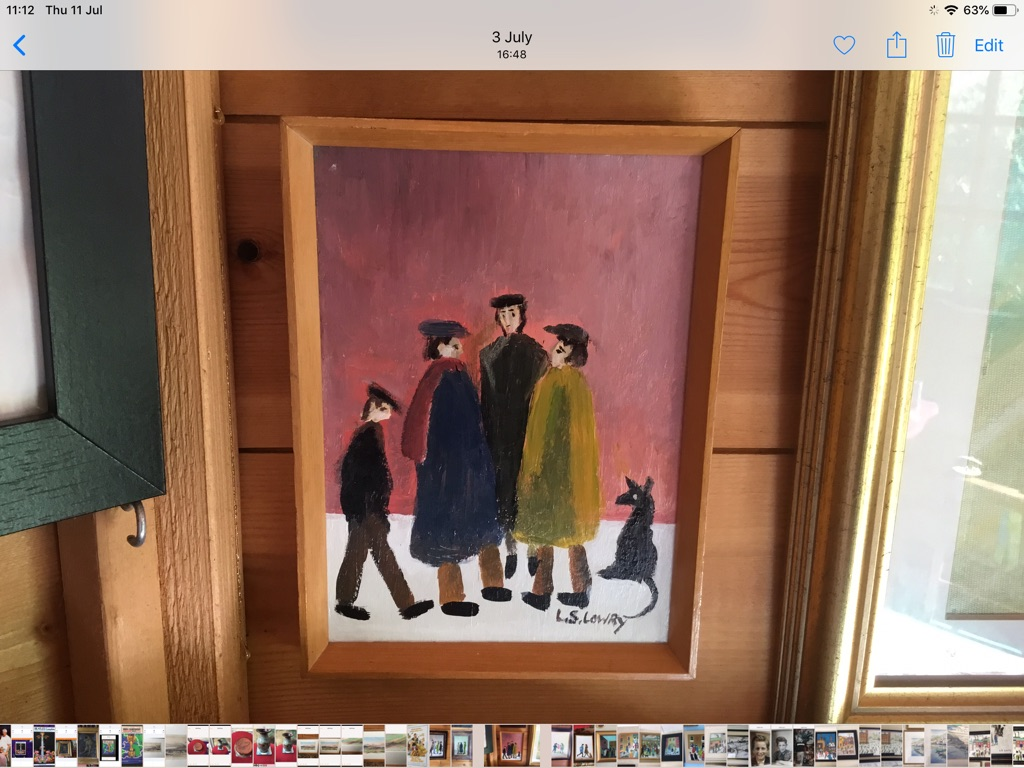 Oil painting on canvas signed after L S Lowry H8in W6in