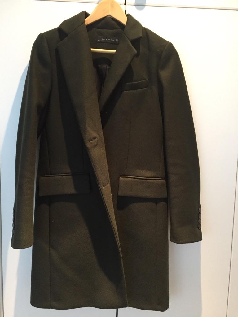 Zara Khaki Coat - Size Small