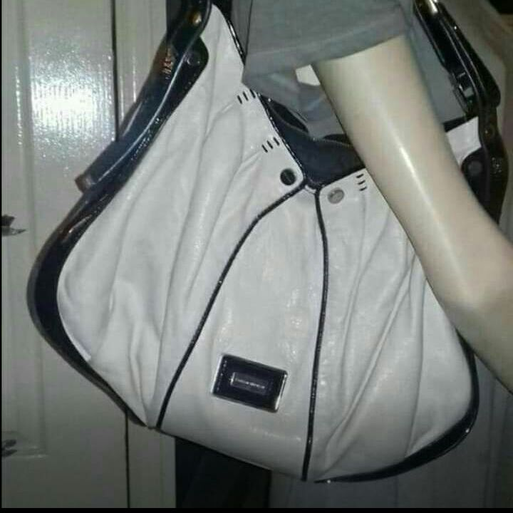 Authentic Large leather cream Karen Millen bag.
