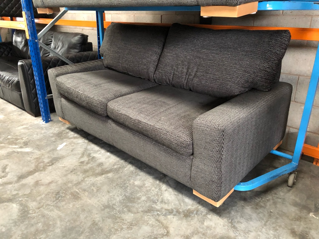 Sofology Glastonbury 2x 3seat sofas charcoal grey one static and one sofa bed