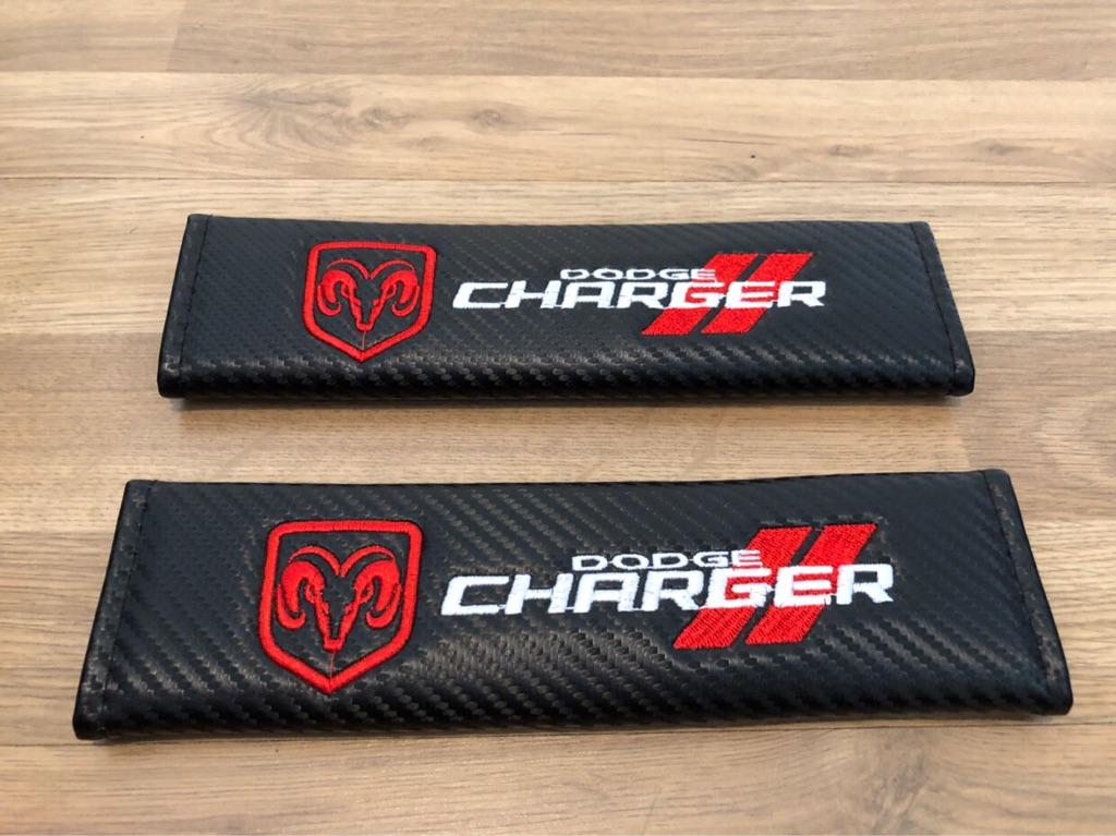 2X Seat Belt Pads Carbon Gift Dodge Charger LHD Hemi SRT 8 392 V8 Sport Turbo