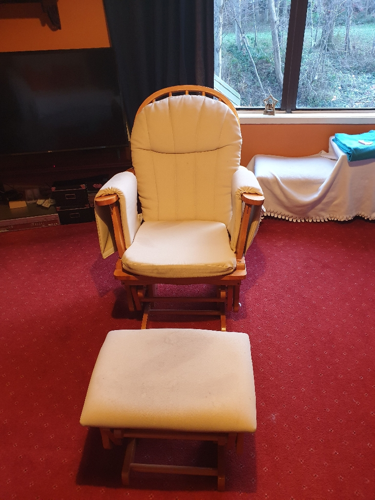 Glider chair and matching footstool