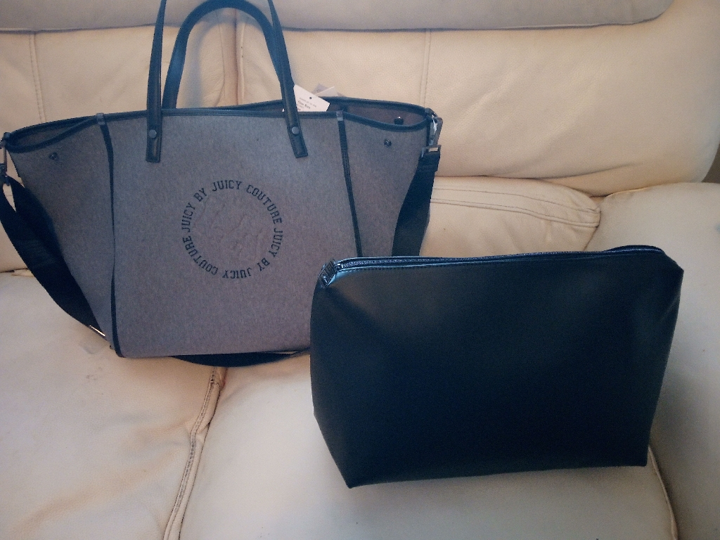 New juicy couture hand bag with leather vanity bag inside