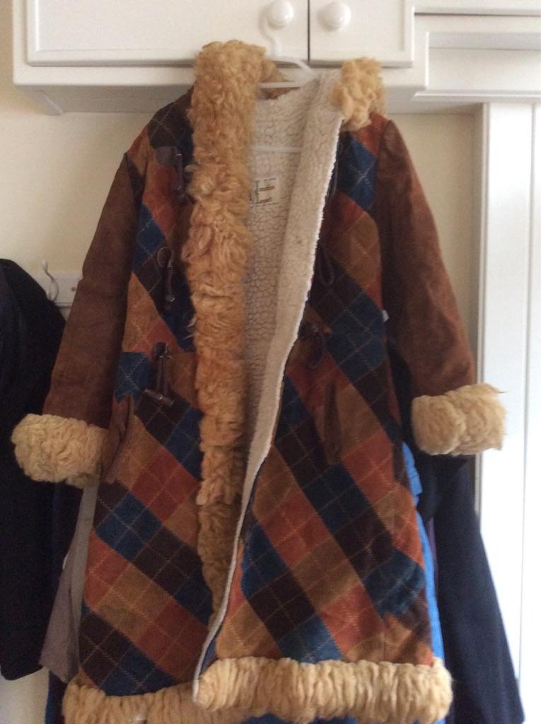 Afghan coat with fleece lining