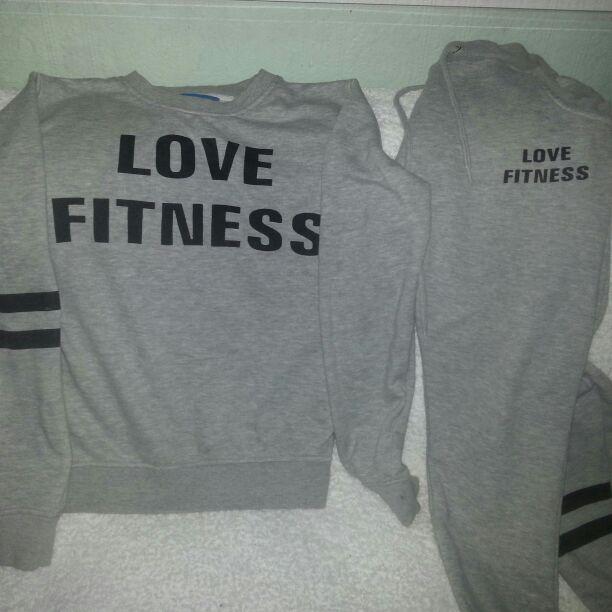 Ladies love fitness grey tracksuit