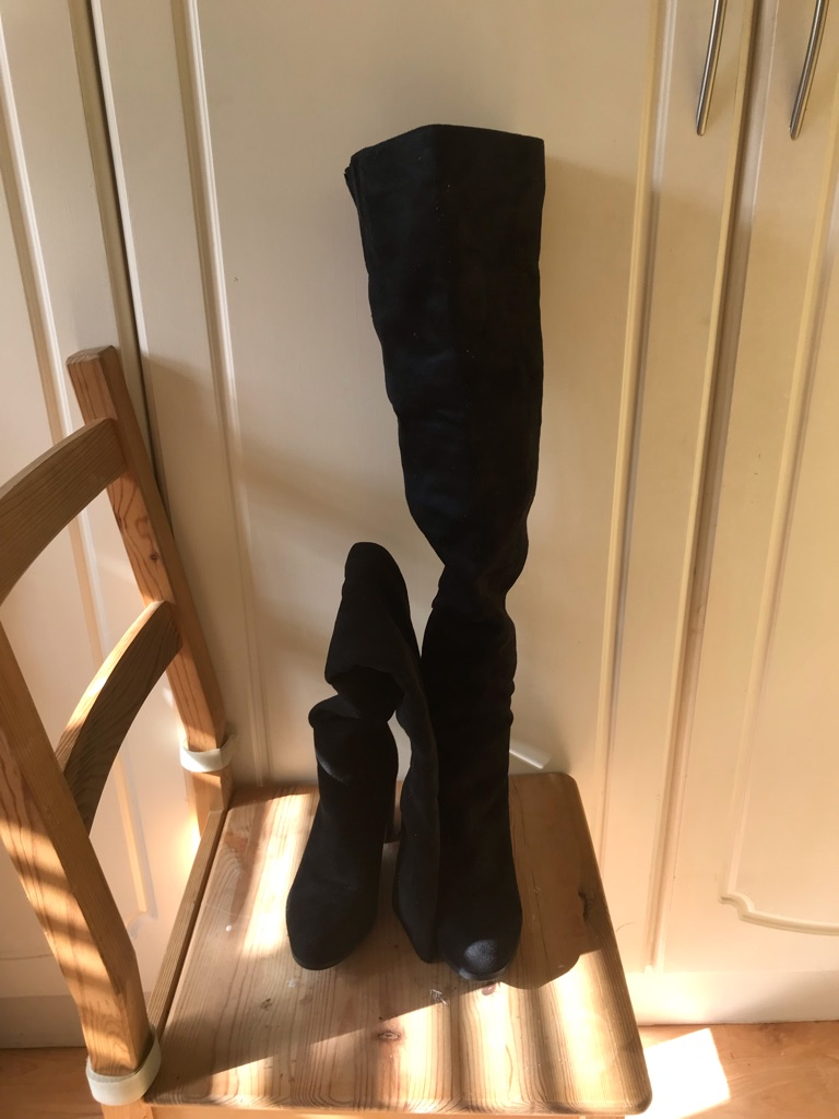 Black thigh high PLT boots