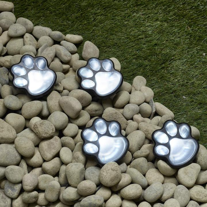 Solar Lights Outdoor Dog Paw Lights (Set of 4) Garden Lights