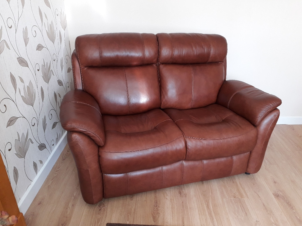 Brown Leather 2 Seater Sofa and 2 Brown Leather Chairs