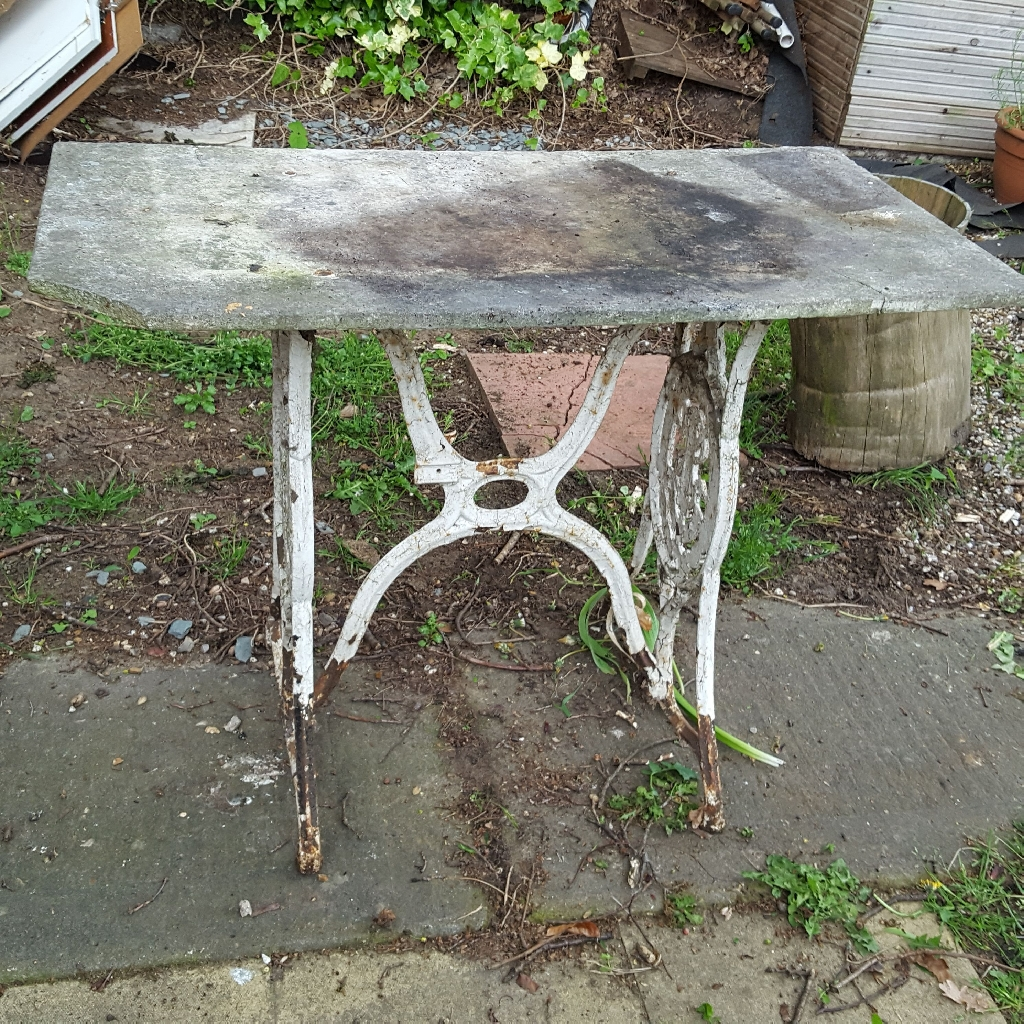 Wrought iron and slate table