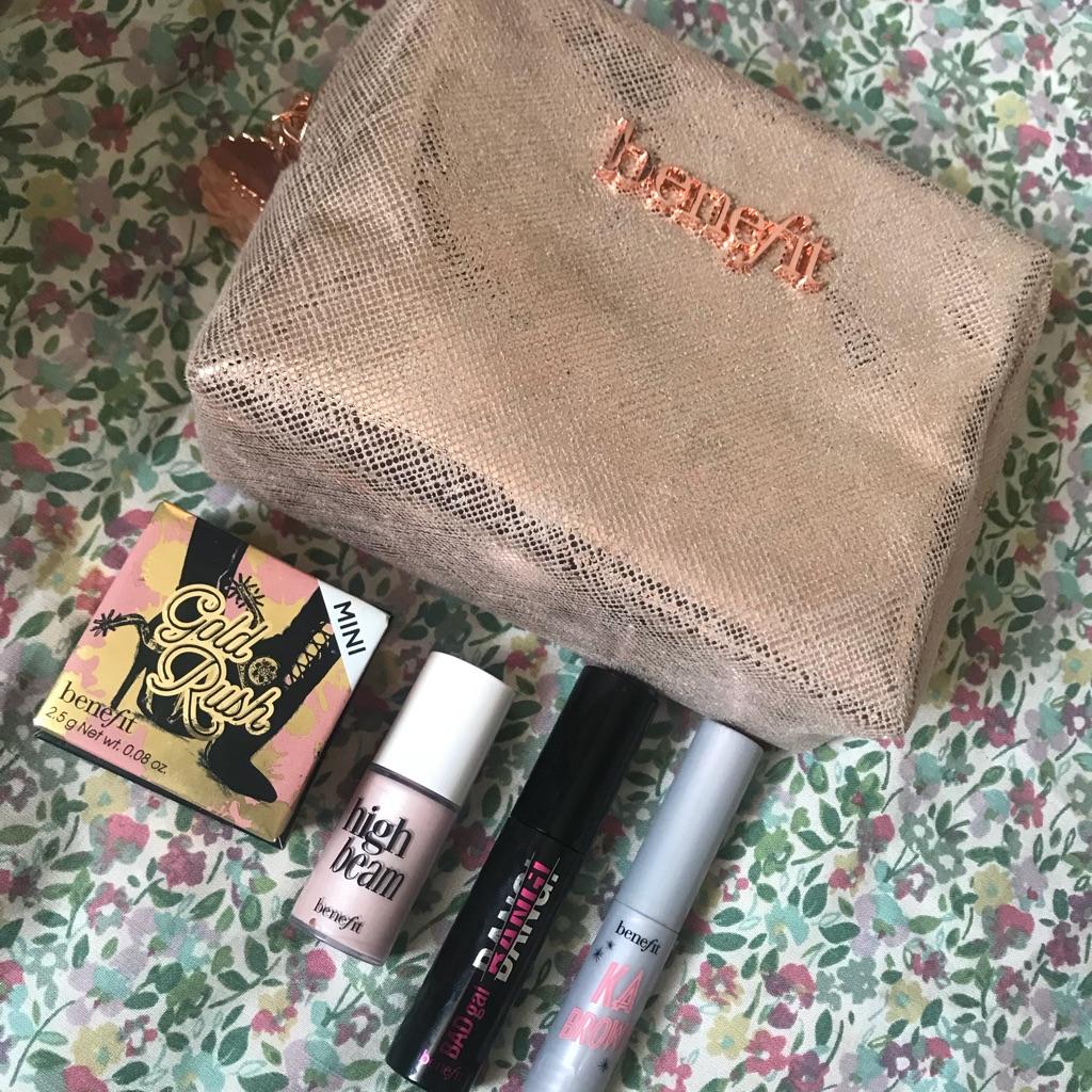 Benefit makeup bag and minis
