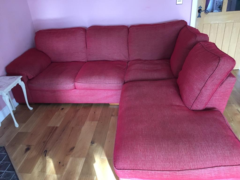 Raspberry red corner sofa