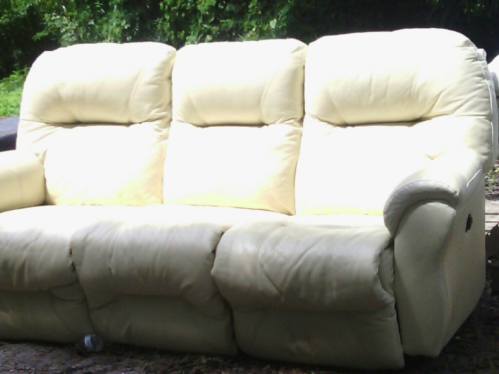 Off White Leather Sofa