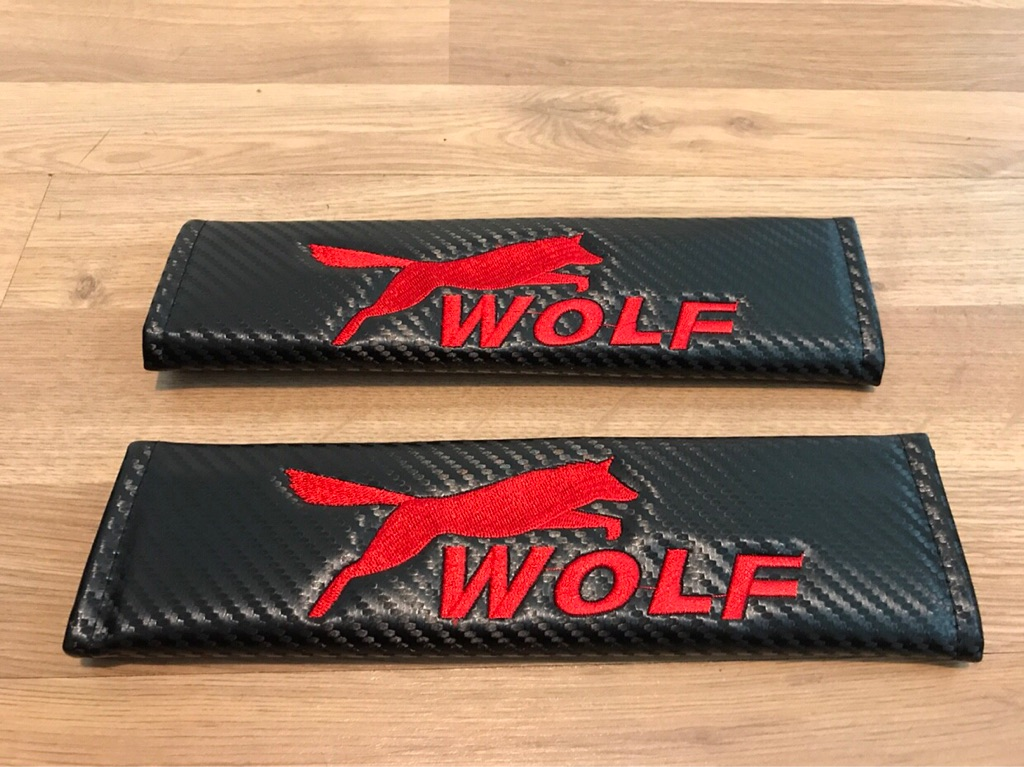 2X Seat Belt Pads Carbon Gift Wolf Lupo Lobo VW Audi BMW Subaru Ford