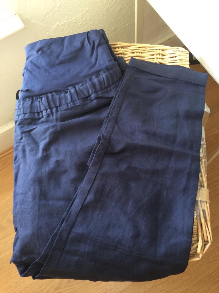 NEW Jojomaman Bebe maternity navy linen trousers