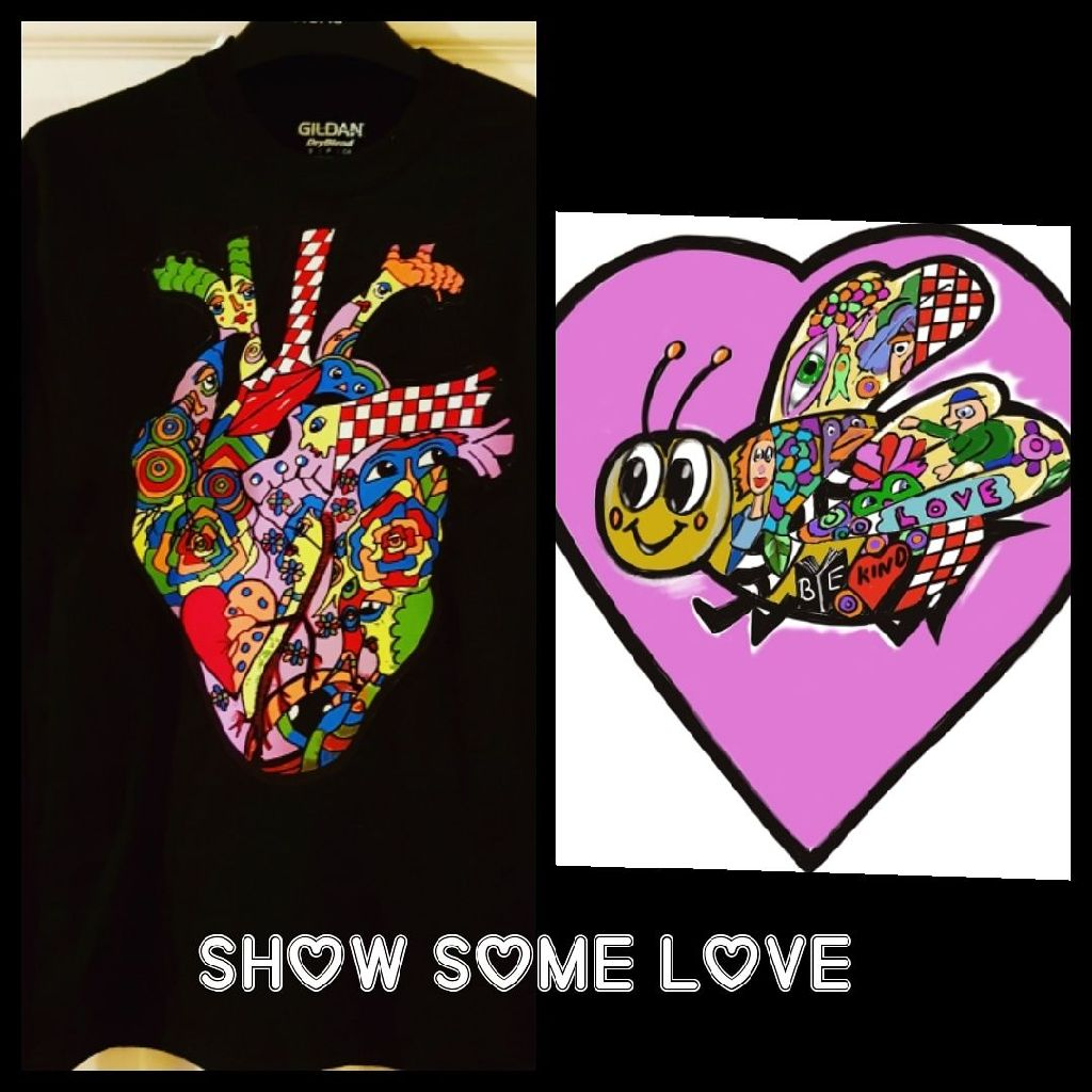 Black tshirt/ heart/love
