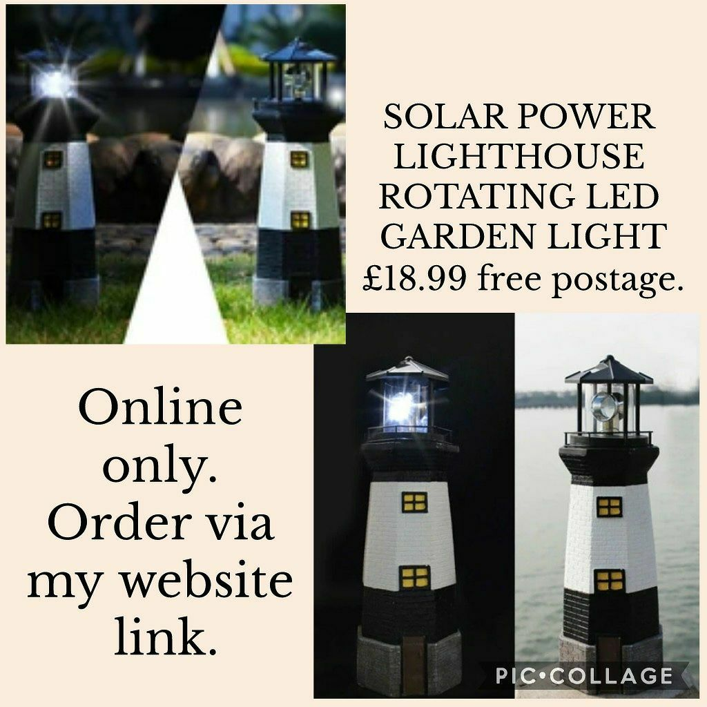 💥SOLAR POWER LIGHTHOUSE ROTATING LED GARDEN LIGHT 💥£18.99 🚛free postage