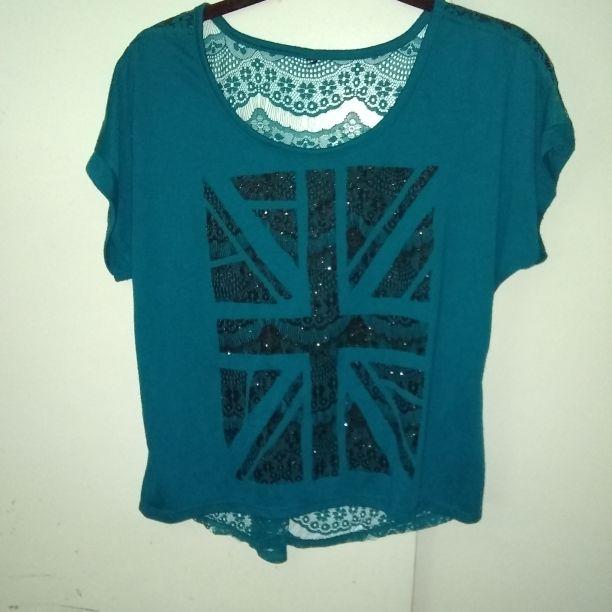 Womens shirt turguioseand black size medium