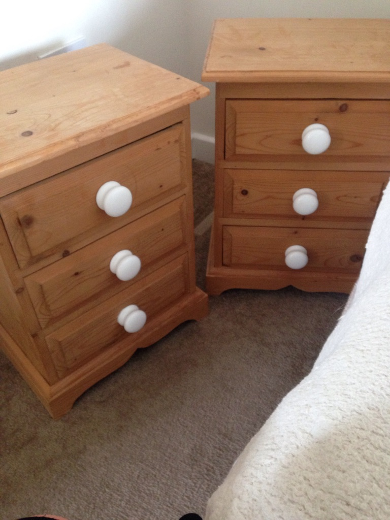 Pair solid pine bedside drawers