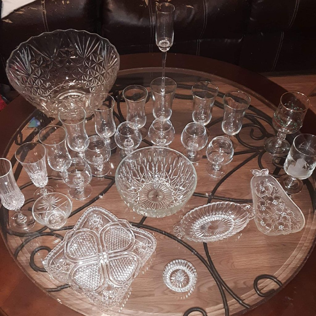 Crystal wine glasses and Indian glass