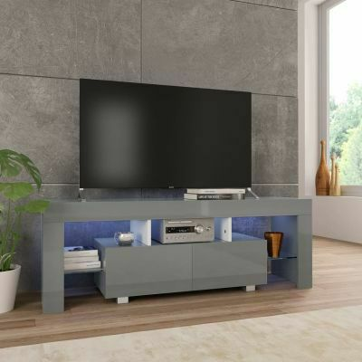 TV CABINET WITH LED LIGHTS HIGH GLOSS GREY
