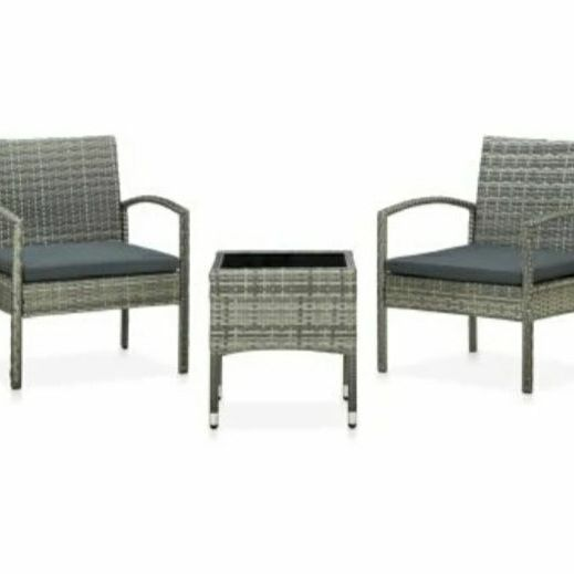 3 piece bistro set with cushions poly ratten set grey