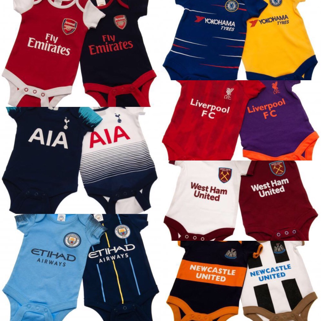 """Football Team Baby Vests """"Pack Of Two"""""""