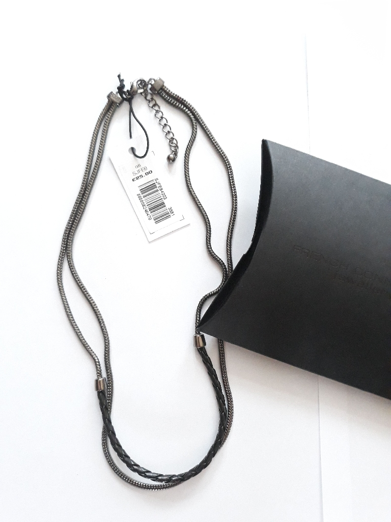 French Connection Chain & Leather Necklace RRP £25 with Original Gift Box, 9.5inch