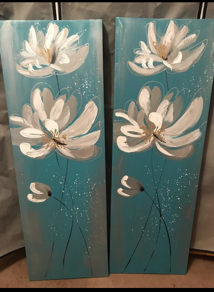 Pair of flower wall art canvas