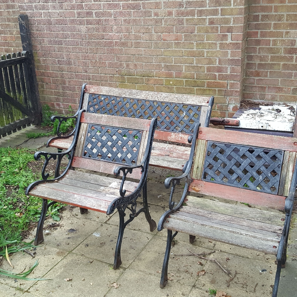 Two garden chairs and bench