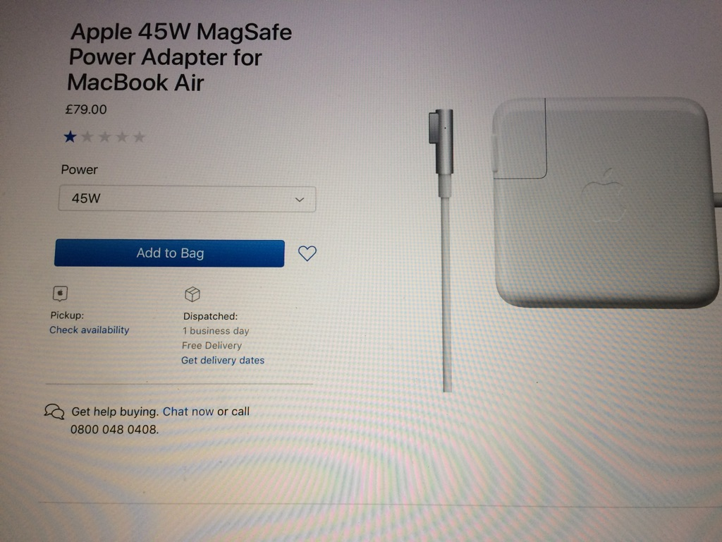Apple 45W MagSafe Charger for Macbook Air