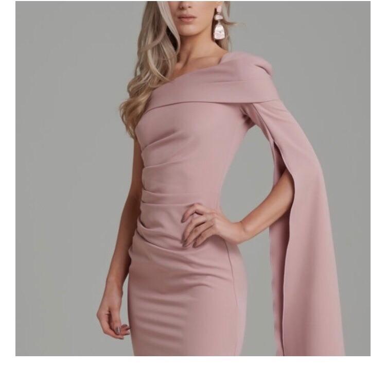 Kevan Jon Tiffany One Sleeve Dress in Blush Pink