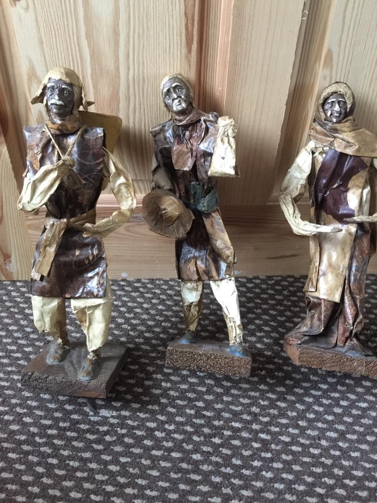 3 x hand made folk art figures